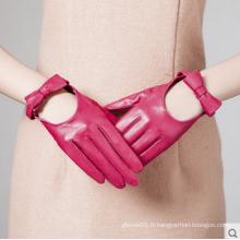 Robe de mode féminine gants en cuir de conduite à la main