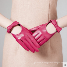 Senhoras moda vestido feito à mão de condução luvas de couro