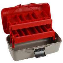 Red Lid and Grey Bottom 2 Tray Fishing Storage Box