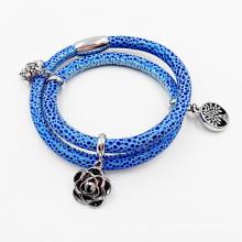 Venda quente Manta Ray pulseira de couro com encantos feitos