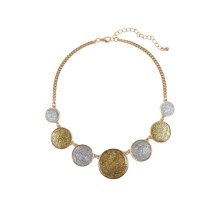 New Fashion Jewelry Mixed Gold And Silver Glitter Paper Statement Necklace