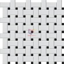 Weaving Pattern White Mic Black Ceramic Mosaic Style (CST151)