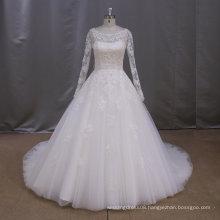 Long sleeve see though lace alibaba wedding dress