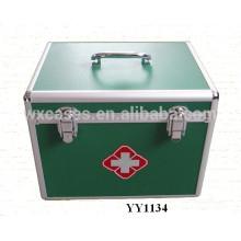 haute qualité en aluminium vert secourisme coffret avec plateau à l'intérieur du fabricant