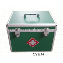 high quality green aluminum first aid kit box with tray inside manufacturer