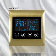 Interruptor de toque de termóstato de ar condicionado de 4 tubulações em moldura de metal (SK-AC2000L8-4P-N)