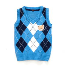 15CSK014 2016 nice winter thick warm argyle vest kid clothing