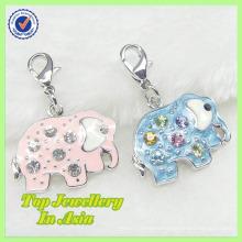 Wholesale Alloy Silver Enamel Lucky Elephant Charm Jewelry