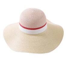 Wide Brimmed Color Blending Design Women Paper Straw Hat