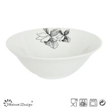 Cuvette en porcelaine blanche avec décalque fleur ouverte