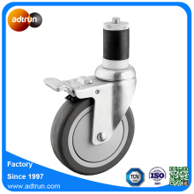 5inch PU Expandable Stem Full Braked Caster Wheels