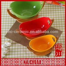 Cerâmica rodada utensílios de cozimento verde com tampa de silicone Lunch box locker bowl tigela de macarrão japonês