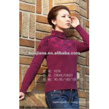 Мода женщин фиолетовый кашемировый свитер водолазка