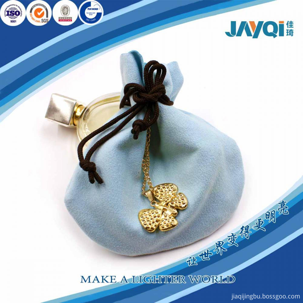 Light Blue Microfiber Pouch for Jewelry