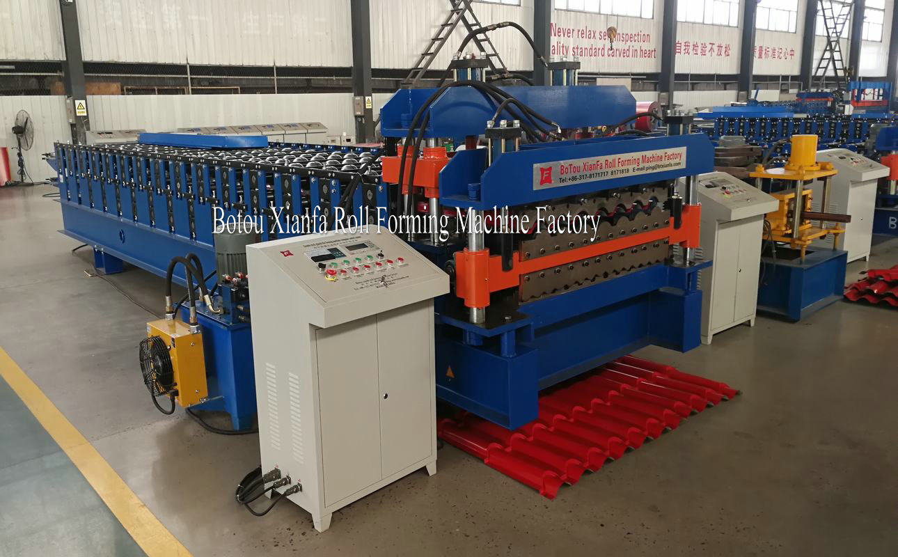 glazed tile corrugated double deck machine