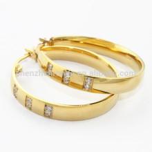 Кубический цирконий Нержавеющая сталь с золотым обручем Шарм Серьги для женщин