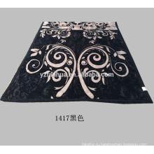 Новый дизайн, что черный полиэстер цветок печатных Рашель норки одеяла