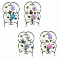 Artificial Cloth Flower Decorated Metal Fence Craft