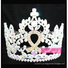 Tiara de cristal de luxo de fita colorida de alta qualidade