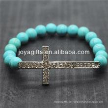 Türkis 8MM runde Perlen Stretch Edelstein Armband mit Diamante Kreuz in der Mitte