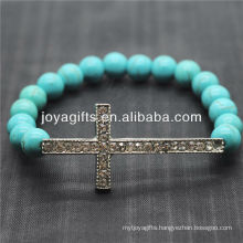 Turquoise 8MM Round Beads Stretch Gemstone Bracelet with Diamante Cross in the middle