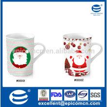 Embalaje de la caja agradable 9-12oz fiesta de cerámica porcelana taza de diseño de Navidad