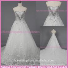 WD6032 Qualidade tecido heavey frisado de diamante de qualidade de exportação artesanal jóia em forma de coração vestidos de noivado de corpete com trens longos