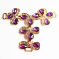 Gemstone roxo embellished sandálias do T-Barra