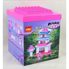 Tijolos plásticos do brinquedo da casa de campo 127PCS cor-de-rosa para meninos e meninas