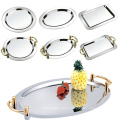 Factory direct 22 inch stainless steel silver gold handles large round metal tray.