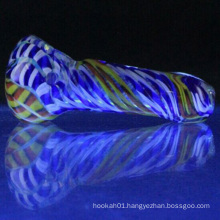 Tigre Worked Spoon for Smoke Wholesale with Colorful Glass (ES-HP-047)