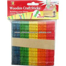 Artisanat en couleur Bâtons en bois, bâton en bois pour l'artisanat, bâton de couleur