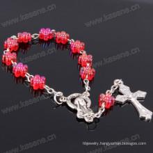 Red Green Plastic Flower Catholic Rosary Bracelet