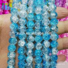 granos de crack perlas de vidrio al por mayor 10 mm perlas de joyería redondo azul