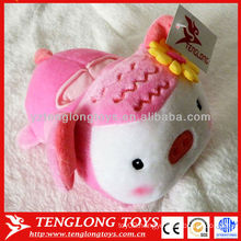 2015 New design lovely pink pig plush toy phone seat