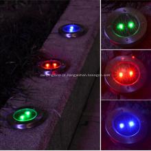 Luminária de jardim solar circular de aço inox com LED