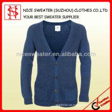 50% de lana de los hombres 50% de punto medio milano de la rebeca de acrílico