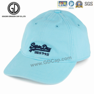 O logotipo personalizado bordou o boné de beisebol azul de alta qualidade dos esportes da sarja do algodão