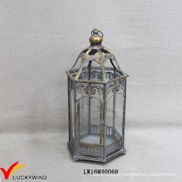 Grau Gold Retro Metall Glasboden Hurrikan Kerze Laternen