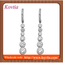 2015 new hot sale bijoux en argent imitaion diamond long pendant earring silver hoop earring