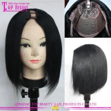Parte do cabelo humano Remy indiano U de alta qualidade peruca peruca de cabelo humano Yaki Bob para mulheres negras
