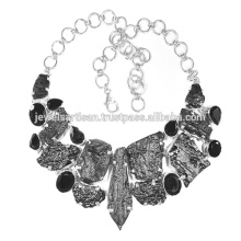 Tektite And Black Onyx 925 Sterling Silver Necklace Jewelry