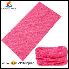 rosa 100% poliéster atacado para exterior multifuncional tubular sem costura bandana