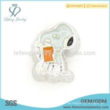 Flotante locket encanto esmalte de dibujos animados, encantos flotantes baratos para pulseras
