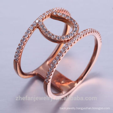 dubai rose Gold 18K rhodium Plated Quality Fashion New Ring Jewelry latest Design chic