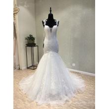 Nach Maß, das Spitze-Nixe-Hochzeits-Kleid bördelt