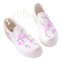 Calçados de lona ocasionais quentes dos calçados das mulheres novas da venda