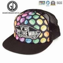 Tampão colorido dos Headwear do Snapback da impressão de Digitas da forma nova com parte traseira da malha do emblema do bordado