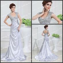 Charming Sliver Color Satin A-line Long Train Romantic Real Picture Bridal Dresses