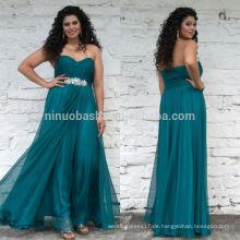 2014 New Turquoise Plus Size Prom Kleid Schatz Full-Length gefaltet Jeweled Top Side Reißverschluss Chiffon A-Line Party Gown NB0906